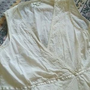 J.Jill // Ecru Indian cotton top